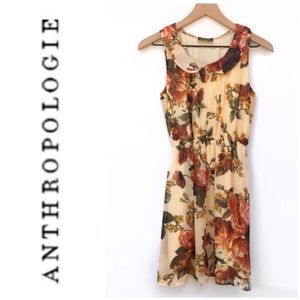 Anthropologie Maude Peach Floral Dress Size Small
